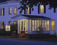 sugar hill,new hampshire,sunset hill house,entrance,dusk,fine dining