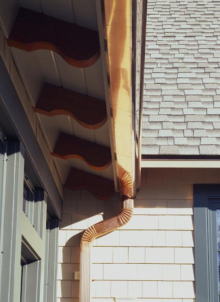 christmas cove, maine,brackets, copper gutter copper down spout