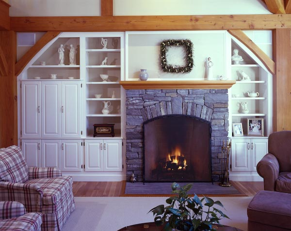 camden,maine,architecture,fireplace,storage,stone,post and beam,slate table