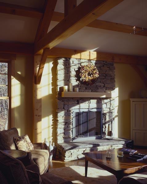 christmas cove,maine,architecture,fireplace,stone,post and beam,