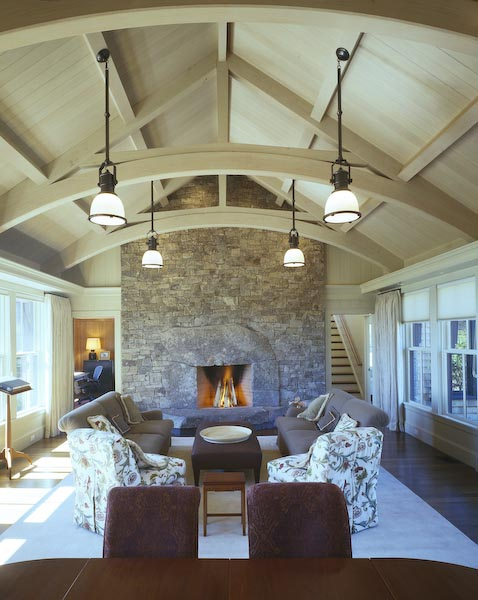 cushing,maine,architecture,fireplace,trusses,stone,post and beam,