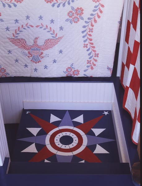 midcoast,maine,architecture,island,compass rose,stairs,painted,floor,quilts