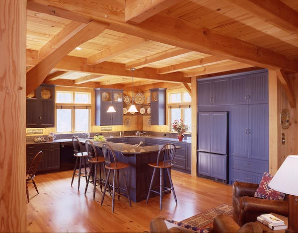 rockport,maine,architecture,kitchen,post and beam,cabin,bar island